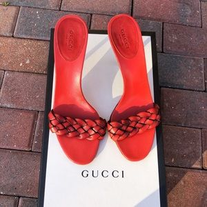 Gucci Red Braided Leather Heels